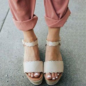 Natural espadrille wedge sandal